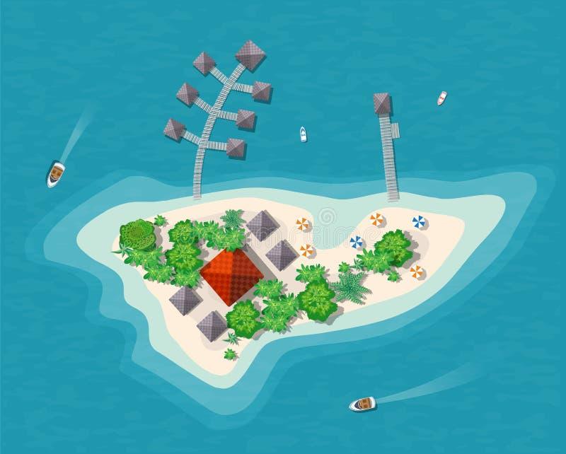 海岛天堂视图 向量例证