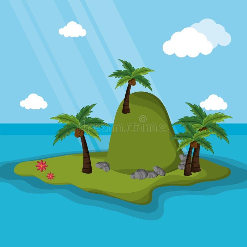 海岛山棕榈树阳光 库存例证