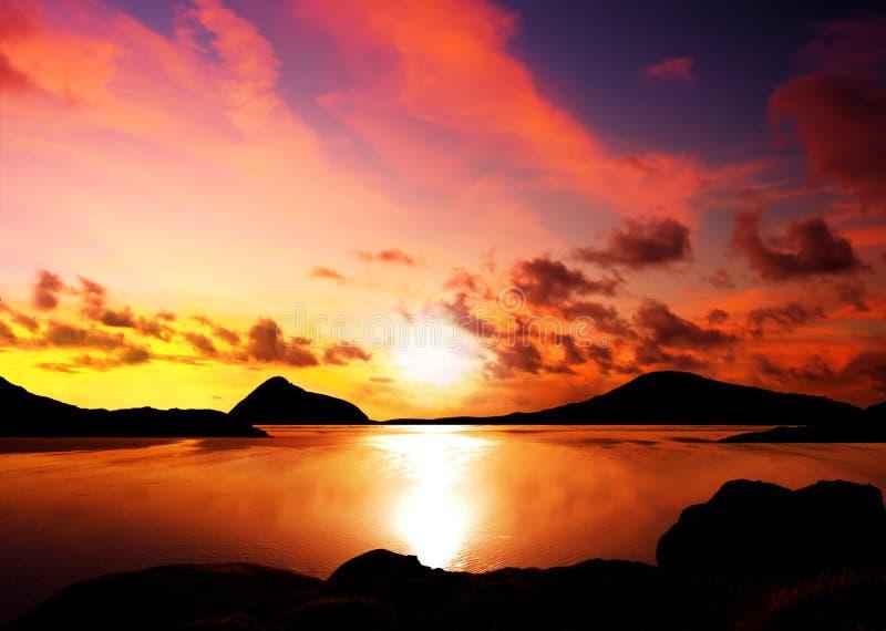 海岛日落 库存照片