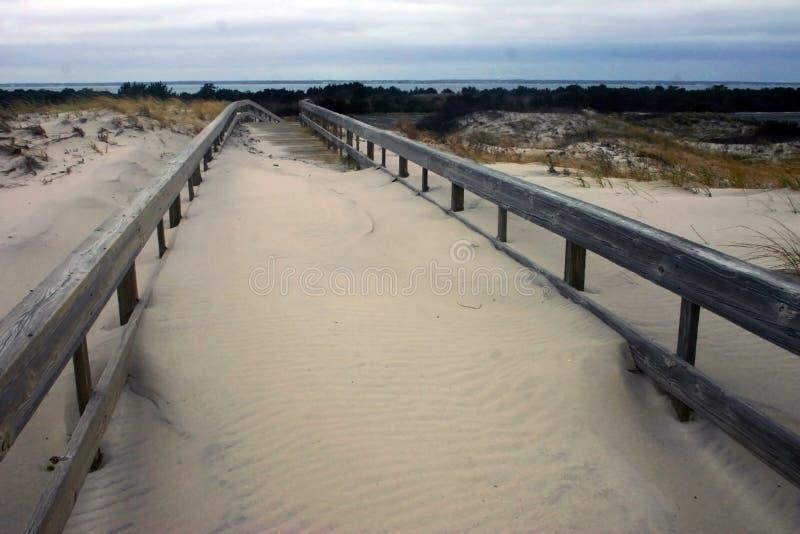 海岛海滩国家公园 英里沙丘和白色含沙 库存照片