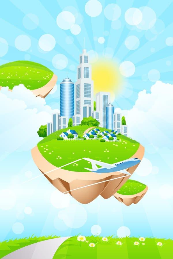 海岛的企业城市 向量例证
