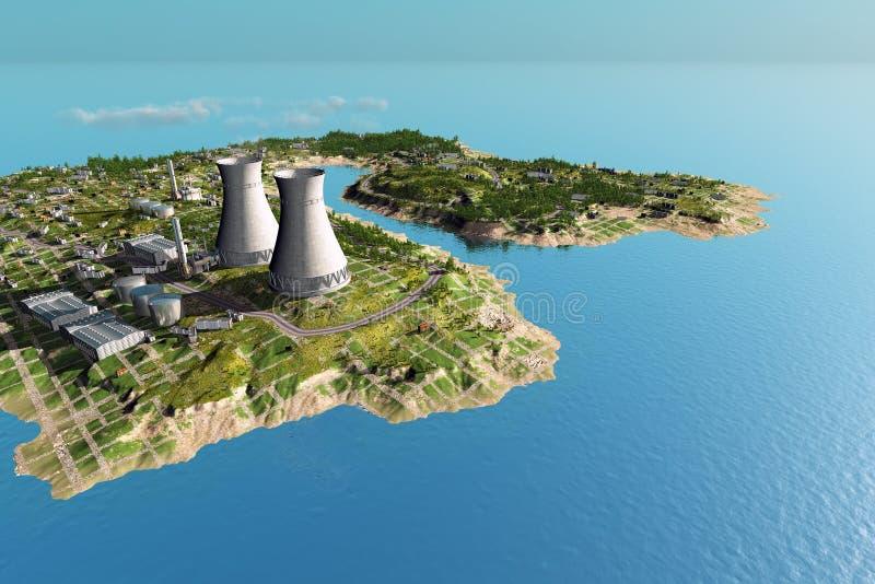 海岛的工厂 皇族释放例证