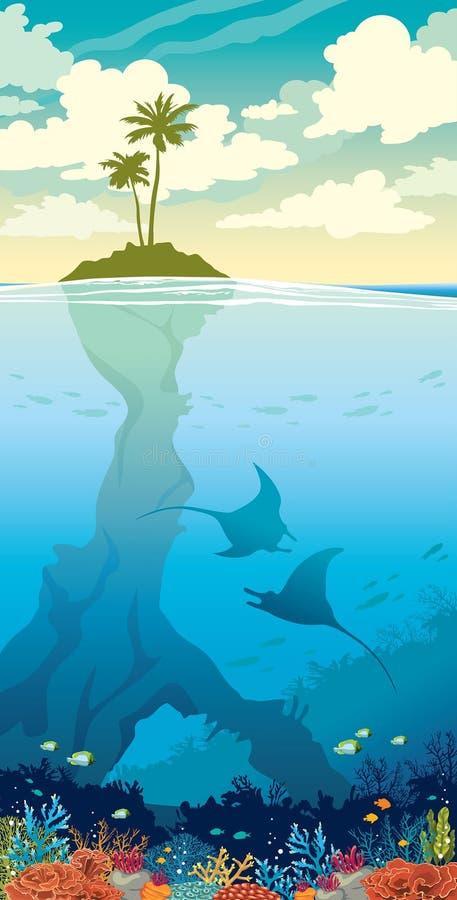 海岛,棕榈,天空,水下的海洋生活 向量例证