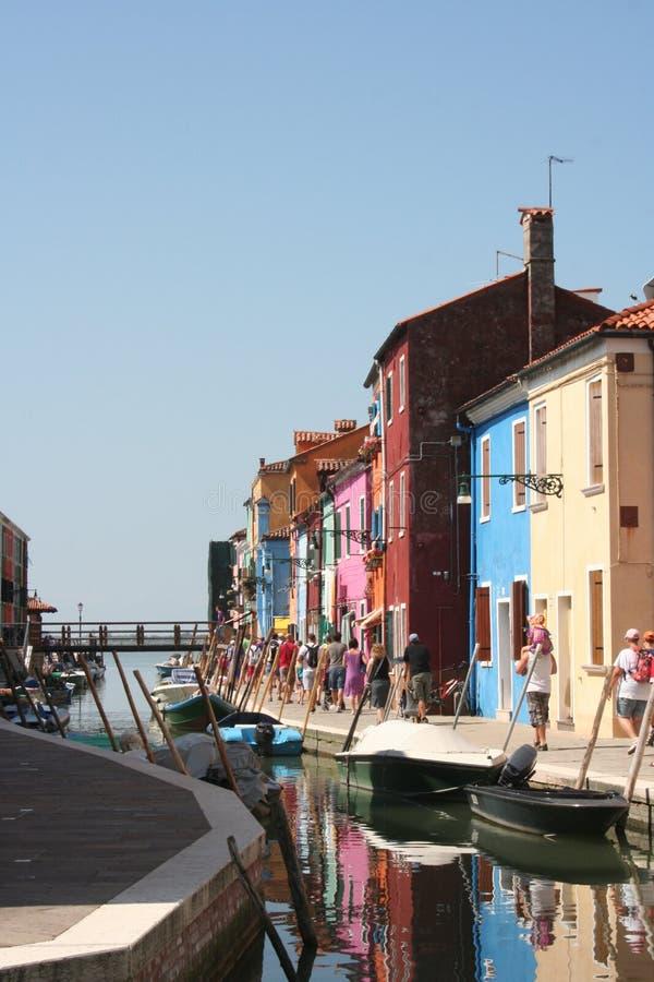 海岛Burano,意大利的Streetview 免版税库存照片