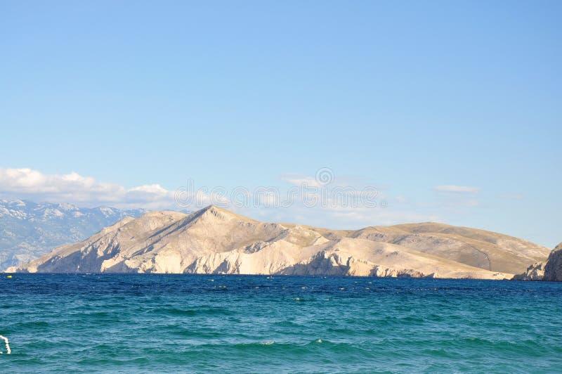 从海岛Krk,克罗地亚海海景场面的看法  库存图片