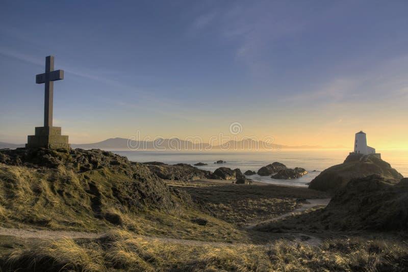 海岛llanddwyn日落 库存图片