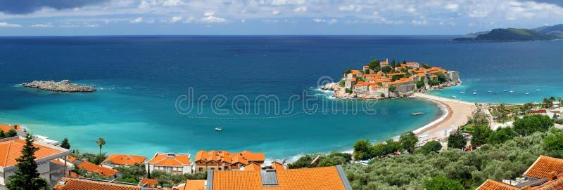 海岛montenegro stefan sveti 免版税库存照片