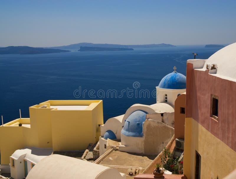 海岛santorini视图 免版税库存照片
