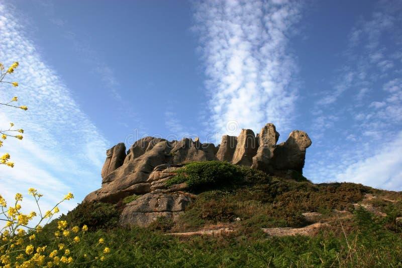 海岸形成花岗岩粉红色岩石 免版税库存图片