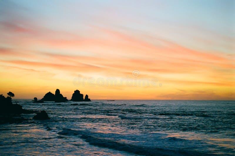 海岸新的日落西方西兰 免版税库存图片