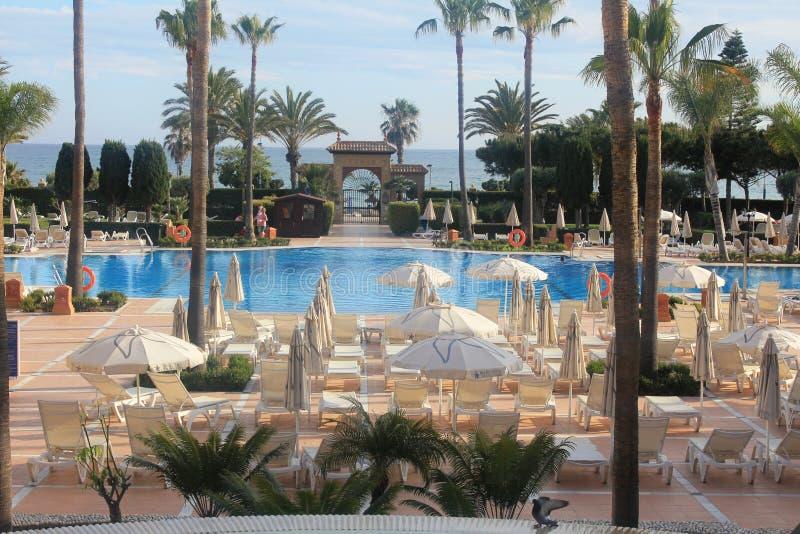 海岸的一家美丽的旅馆在托罗克斯角肋前缘,西班牙 库存照片