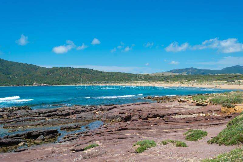 海岸的风景在波尔图耶老岛的海滩附近的 图库摄影