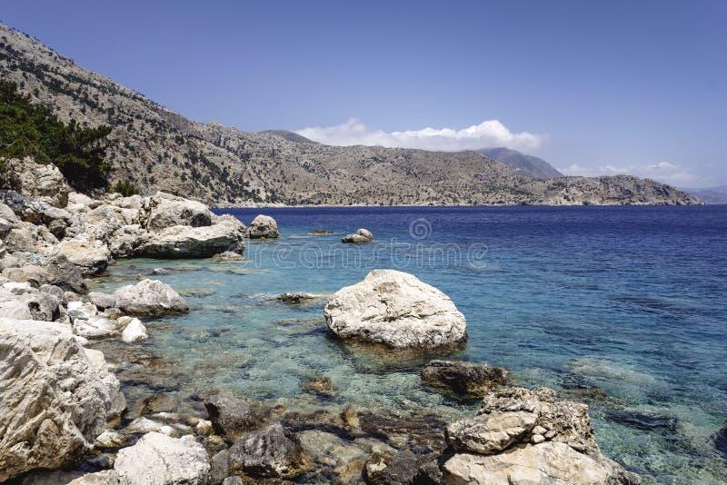 海岸线在喀帕苏斯岛希腊海岛  免版税库存照片