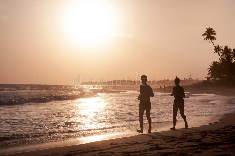 海岸线看法在Koggala,斯里兰卡,冰砾在日落的印度洋 免版税库存照片