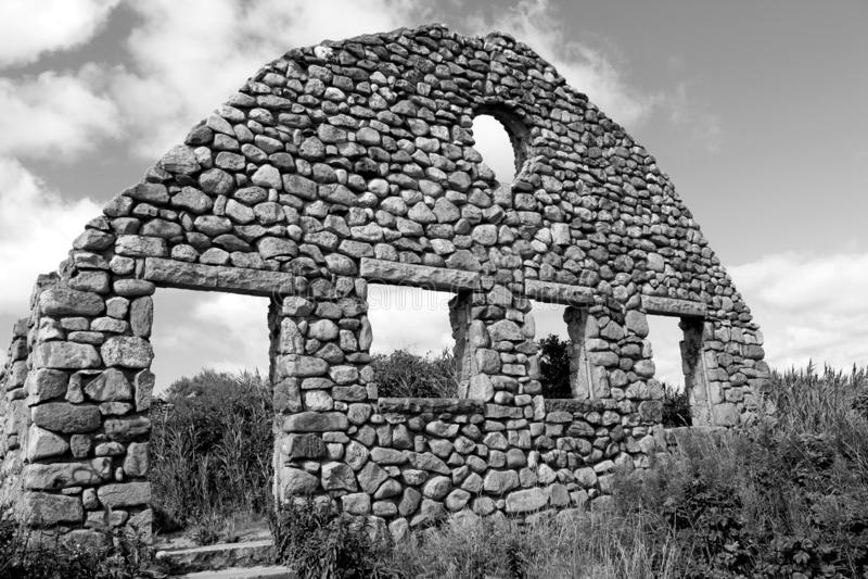海岸警备队议院废墟外部建筑学, Narragansett,罗德岛州, 2018年 免版税库存照片