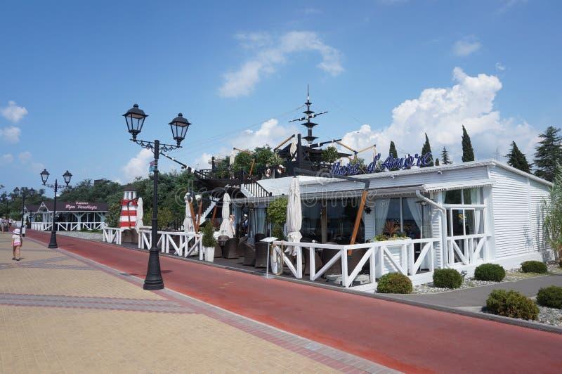 海岸caffee在索契 库存照片