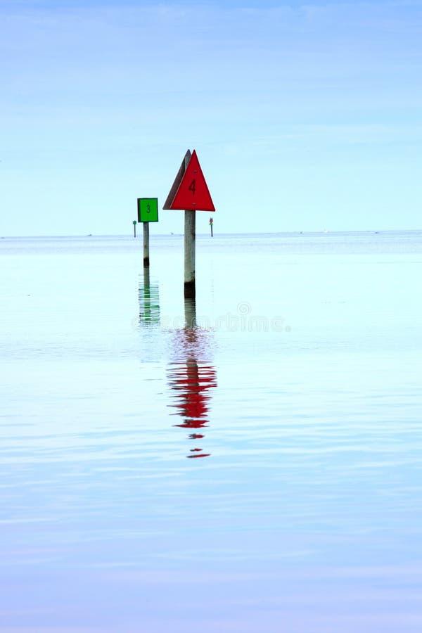 海峡标记Hatteras入口 免版税库存图片
