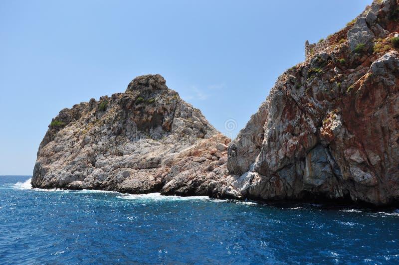 海峭壁 钓鱼地中海净海运金枪鱼的偏差 库存照片