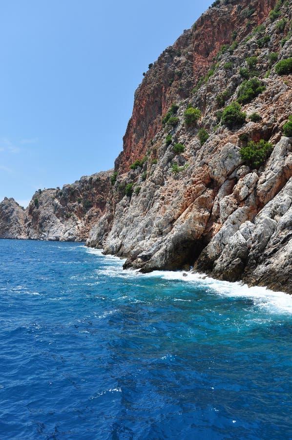 海峭壁 钓鱼地中海净海运金枪鱼的偏差 免版税图库摄影