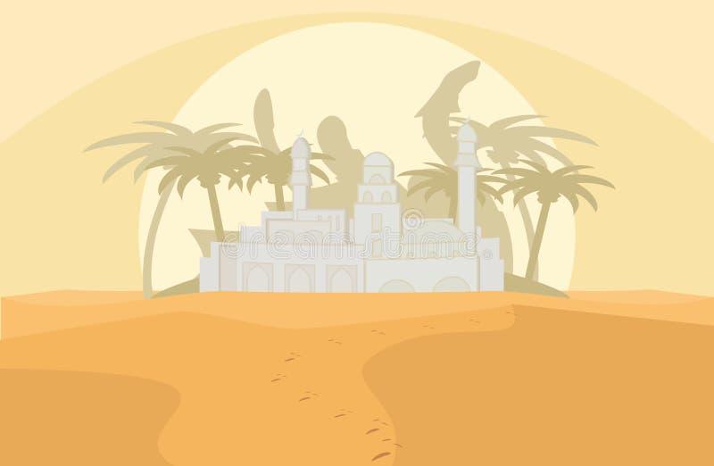 海市蜃楼在沙漠 向量例证
