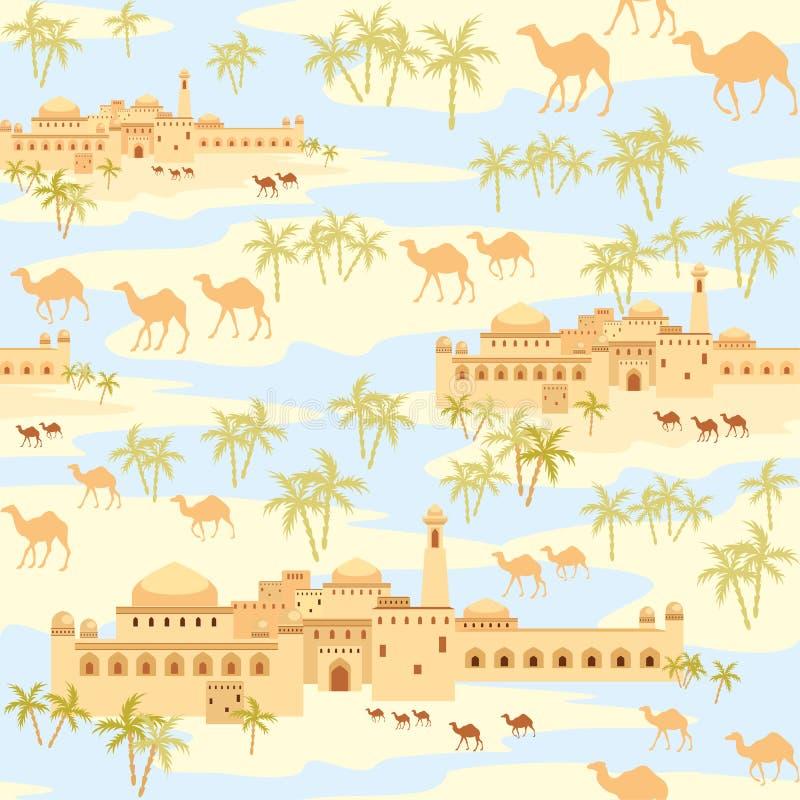 海市蜃楼在沙漠 皇族释放例证