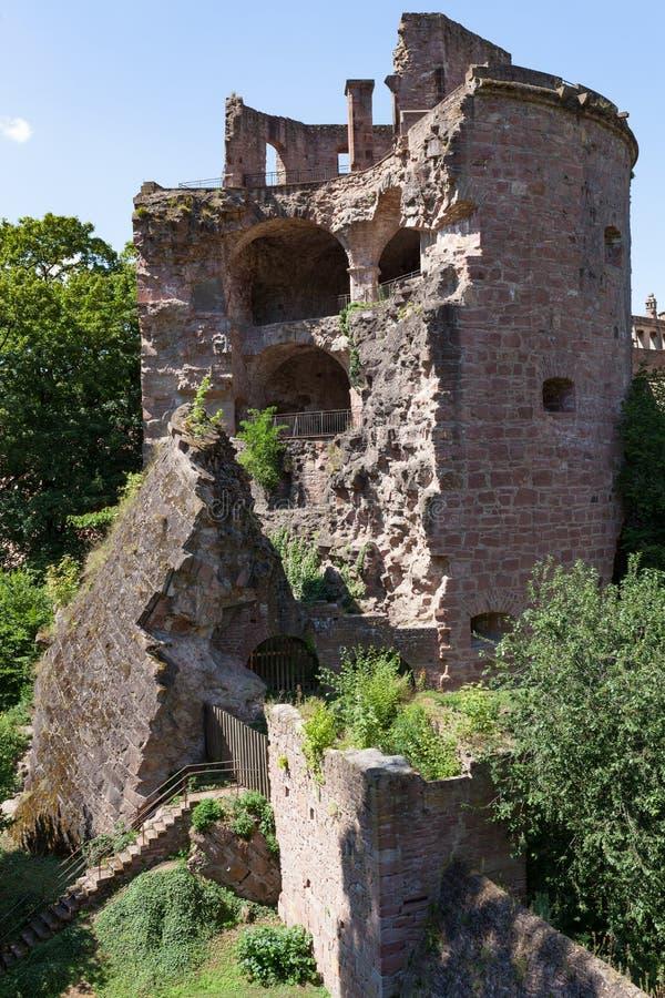 海得尔堡世袭的社会等级废墟在德国夏日 免版税库存照片