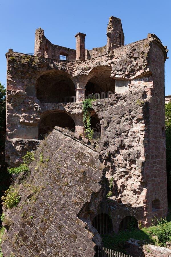 海得尔堡世袭的社会等级废墟在德国夏日 库存照片