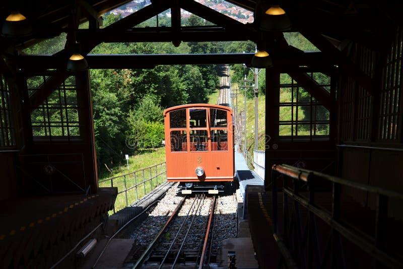 海得尔堡山铁路缆索铁路在上部驻地,巴登-符腾堡州,德国 库存图片
