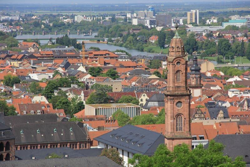 海得尔堡德国市视图 免版税库存照片