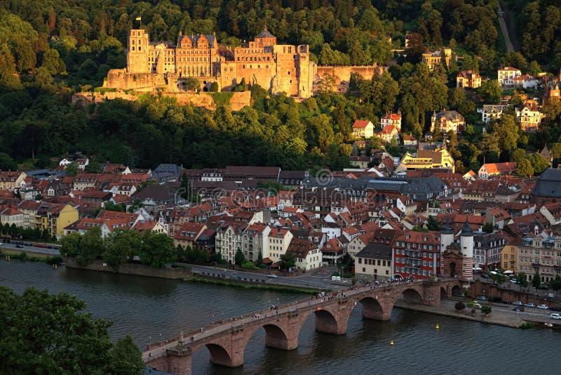 海得尔堡的城堡风景在日落的 免版税图库摄影