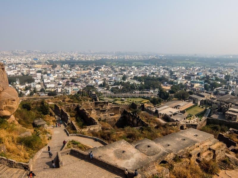 海得拉巴都市风景看法从Golkonda堡垒墙壁的 库存图片