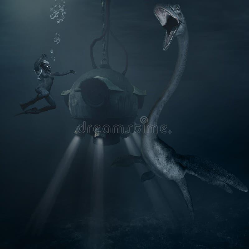 海怪和深海调查用球形潜水装置 库存例证