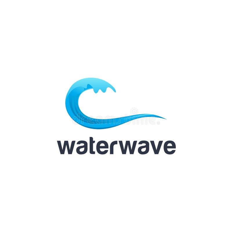 海或河第九波浪水海海洋流程蓝色 风暴和暴风雨和谐传染媒介商标 向量例证