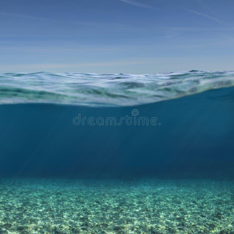 海或海洋水下的背景 免版税库存照片