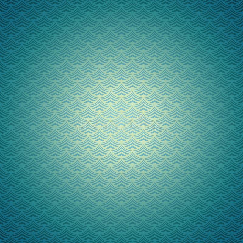 海或海洋水绿松石风格化波浪水色抽象背景  向量例证