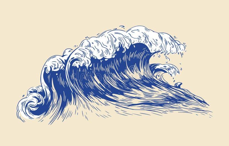 海或海浪典雅的色的图画与在轻的背景隔绝的起泡沫的冠的 海洋浪潮,洗涤或 皇族释放例证