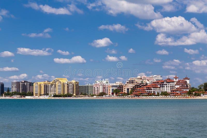 海手段晴朗的海滩,保加利亚 图库摄影