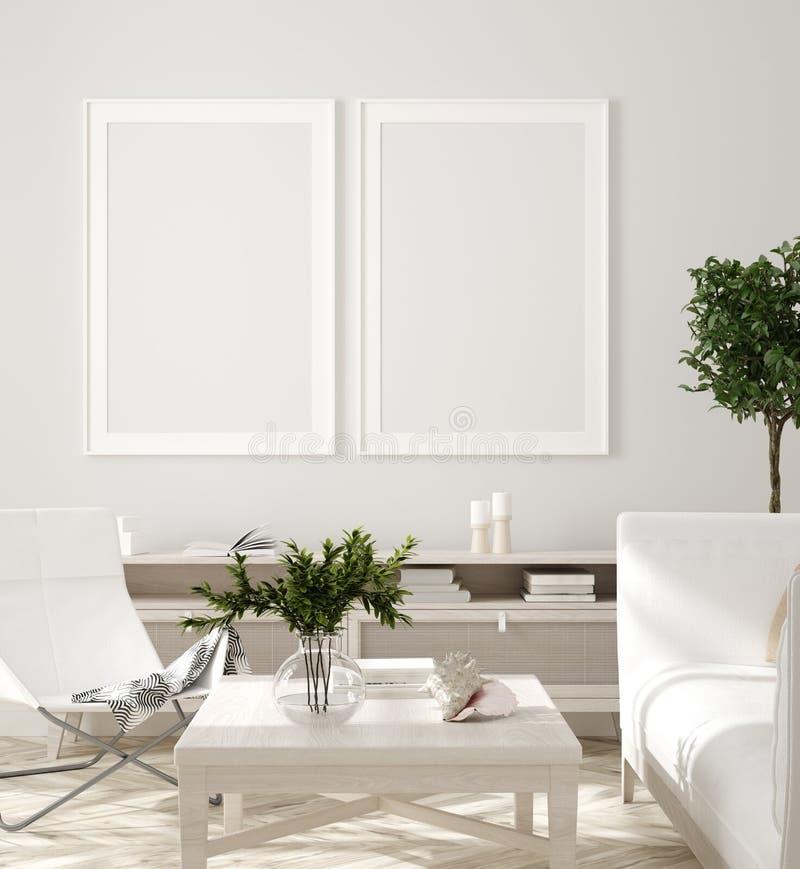 海报、墙壁大模型在米黄内部与白色沙发,木桌和植物,斯堪的纳维亚样式 库存例证