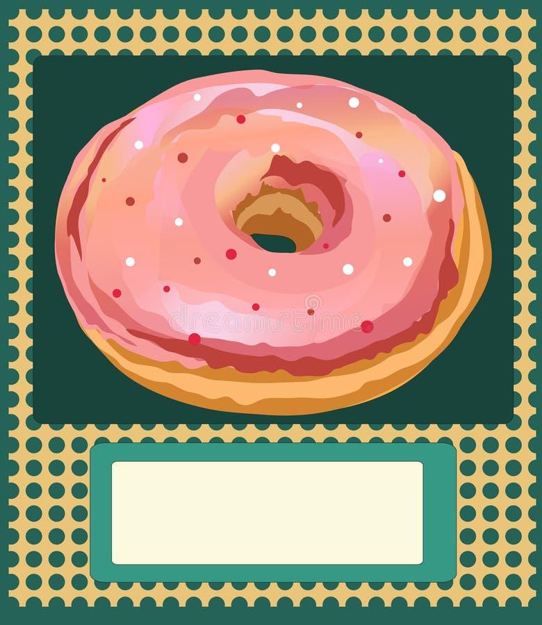 海报与油炸圈饼的传染媒介模板 广告、名片、一个邀请的面包店或一个咖啡馆在葡萄酒样式 皇族释放例证