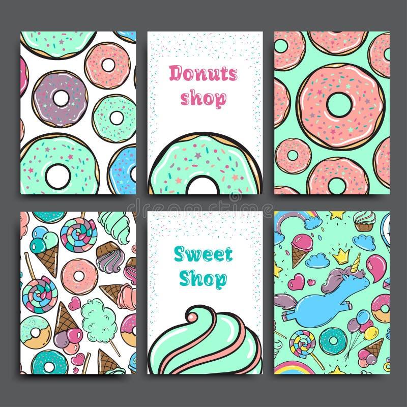 海报传染媒介模板设置与油炸圈饼 做广告为面包店商店或咖啡馆 背景甜点 库存图片