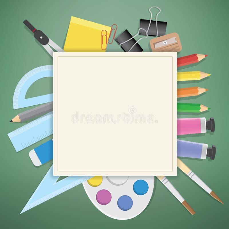 海报供应文具各种各样的研究或办公室 库存例证