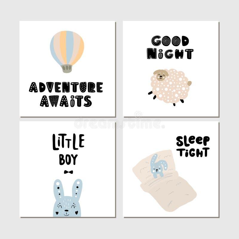 海报儿童卡片的集合汇集与逗人喜爱的狂放的动画片动物和字法的 为托儿所海报和印刷品完善 向量例证