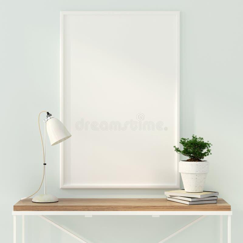 海报和一张木桌的嘲笑 库存例证