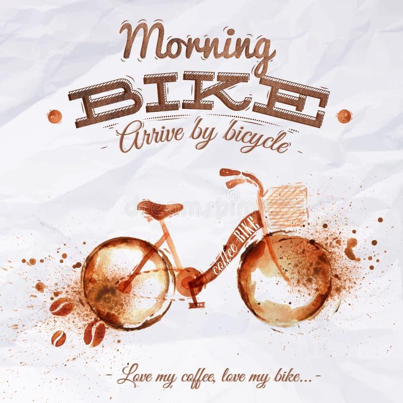 海报咖啡斑点自行车 库存例证