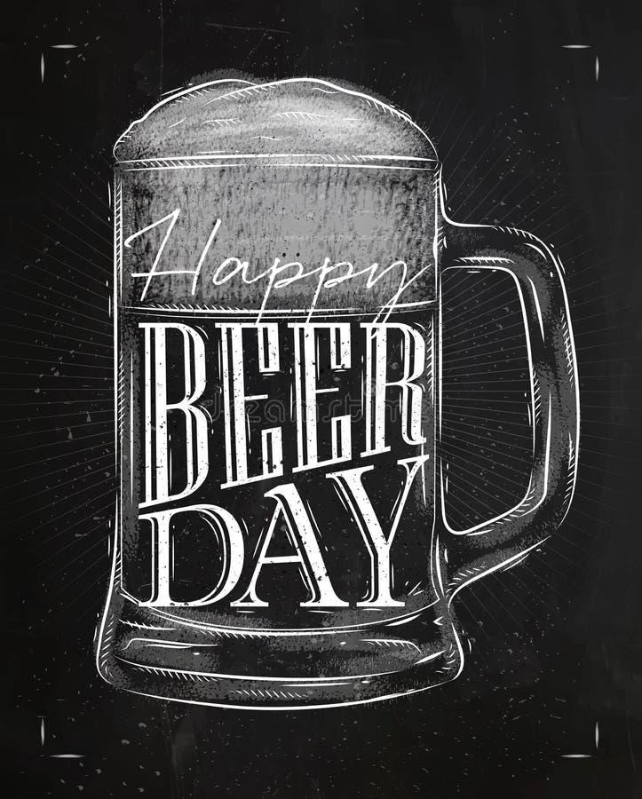 海报啤酒天白垩 库存例证