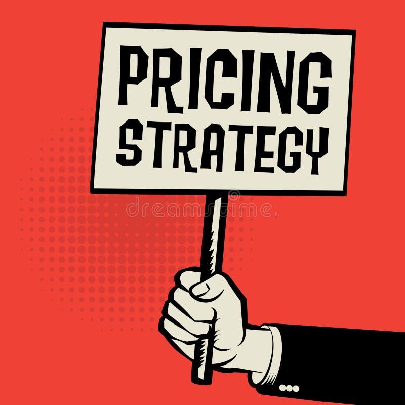 海报在手中,与文本订价战略的企业概念 皇族释放例证