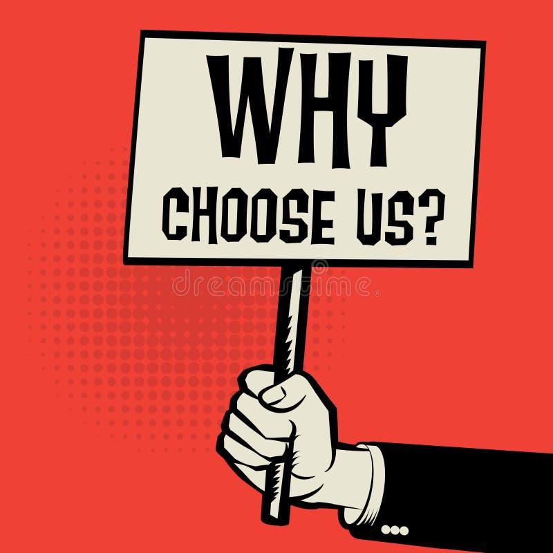 海报在手中,企业概念为什么选择我们 库存例证