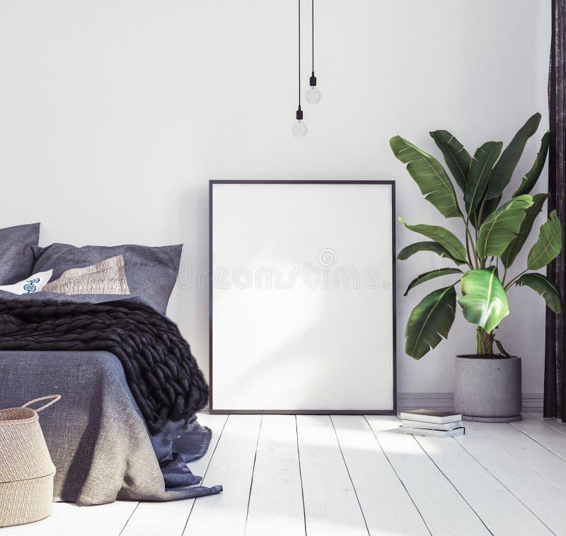 海报大模型在新的斯堪的纳维亚boho卧室 免版税库存照片