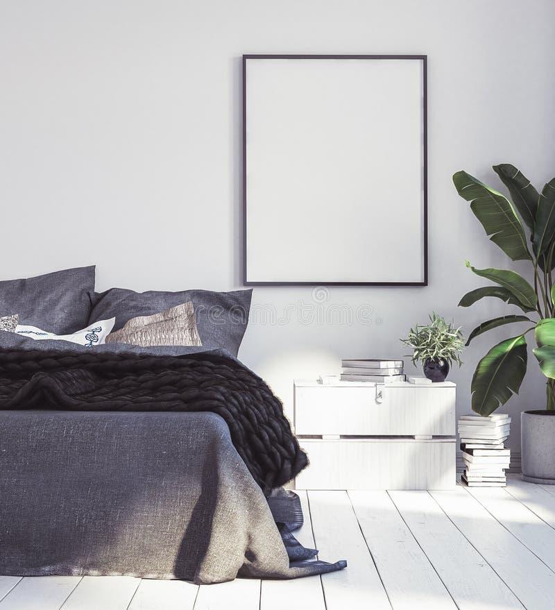 海报大模型在新的斯堪的纳维亚boho卧室 库存图片