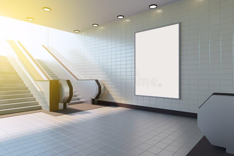 海报媒介模板广告显示的嘲笑在地铁站自动扶梯 3d翻译 库存例证